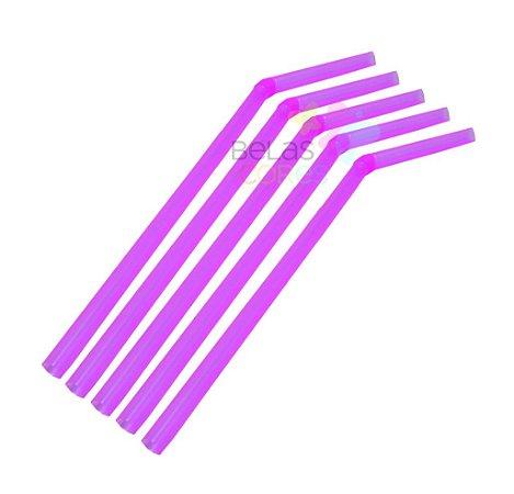 Canudo Flexível Neon Rosa - 50 unidades