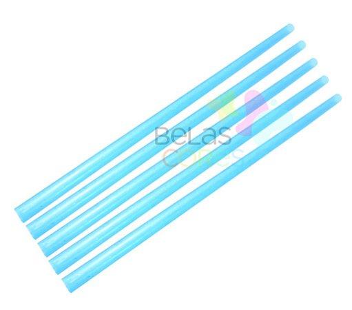 Canudo Azul Glitter - 150 unidades