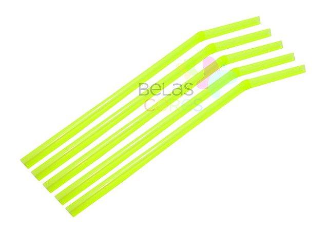 Canudo Flexível Neon Amarelo - 150 unidades