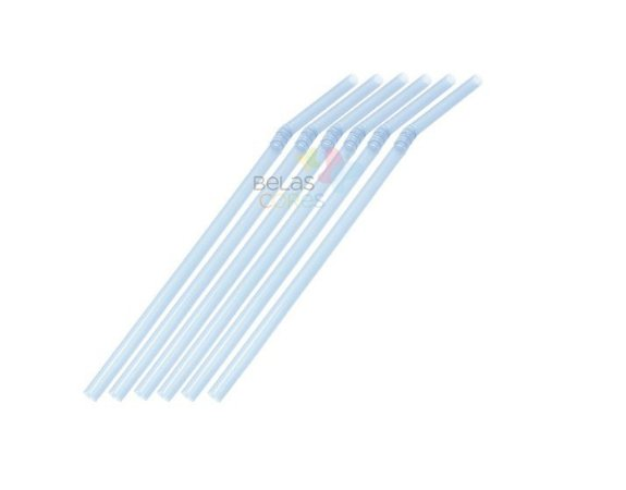 Canudo Flexível Neon Azul - 150 unidades