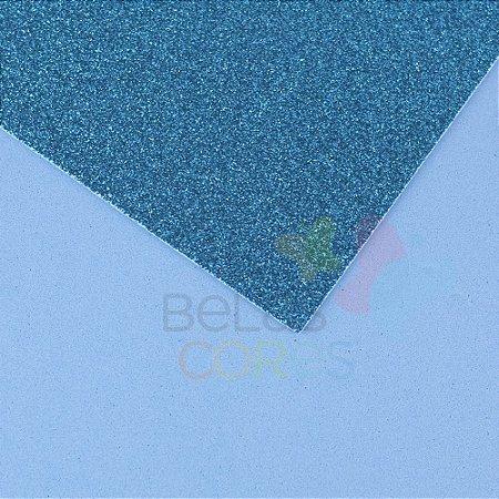 Folha de EVA 40x60cm - Glitter Azul Celeste - 5 unidades