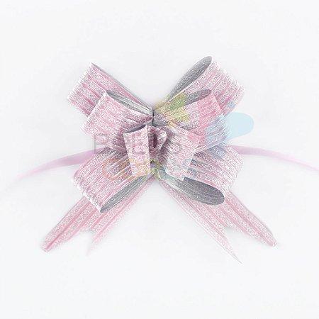 Laço Fácil Pronto Glitter Rosa Listrado - 10 unidades
