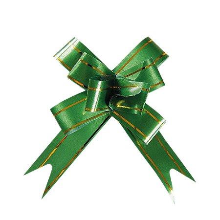 Laço Fácil Pronto Verde com Dourado - 10 unidades