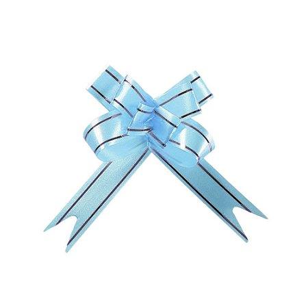Laço Fácil Pronto Azul Claro com Prata - 10 unidades