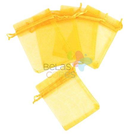 Saquinho de Organza 9x12 cm Amarelo - 50 unidades
