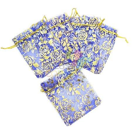 Saquinho de Organza 9x12 cm Azul - Com Estampa Floral Dourada - 50 unidades