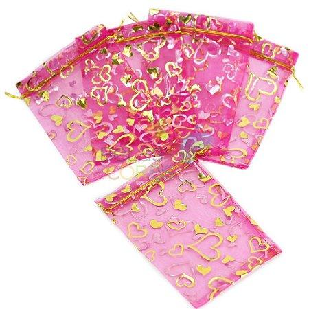 Saquinho de Organza 13x17 cm Pink - Estampa Corações Dourado - 50 unidades