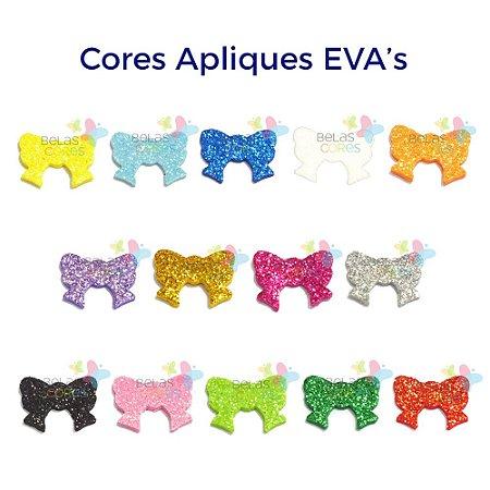Mini Aplique de EVA Glitter Modelo Laço  - Diversas Cores - Tamanho P - 50 unidades