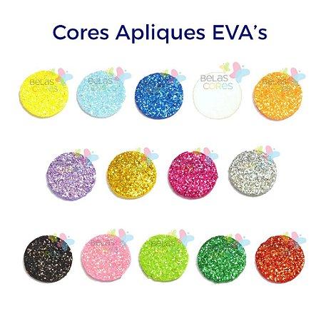 Mini Aplique de EVA Glitter Modelo Bola  - Diversas Cores - Tamanho P - 50 unidades