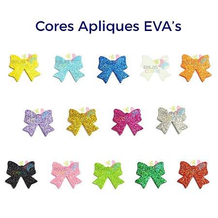Aplique de EVA Glitter Modelo Laço  - Diversas Cores - Tamanho M - 50 unidades