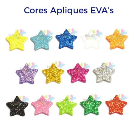 Aplique de EVA Glitter Modelo Estrela  - Diversas Cores - Tamanho M - 50 unidades