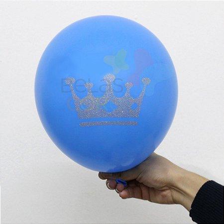 Balão/Bexiga Azul Celeste Coroa Glitter Nº 11 - 12 unidades