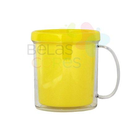 Caneca Acrílica com Rosca Amarela - 1 unidade