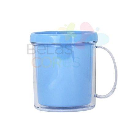 Caneca Acrílica com Rosca Azul Bebê - 10 unidades
