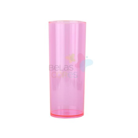 Copo Long Drink 350ml Rosa Transparente - 25 unidades