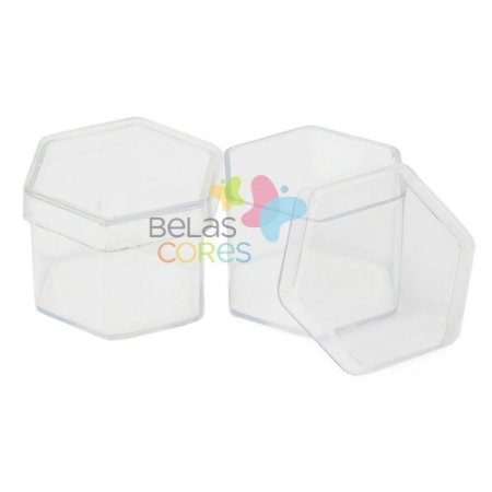 Caixinhas de Acrílico Sextavada Transparente - 50 unidades