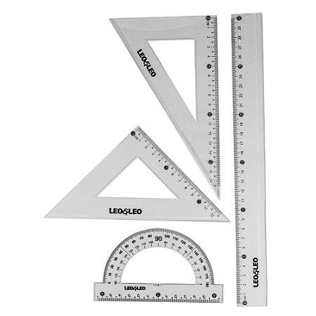 Jogo Geométrico: Régua, Transferidor, Esquadro - 4 peças - Leo & Leo