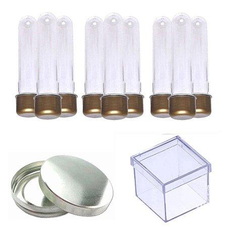 100 Tubetes 100 Latinhas Metal 100 Caixinhas Acrílicas 5x5 - Dourado