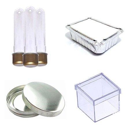100 Latinha Metal 100 Marmitinha 100 Tubete 100 Caixinha 5x5 - Dourado