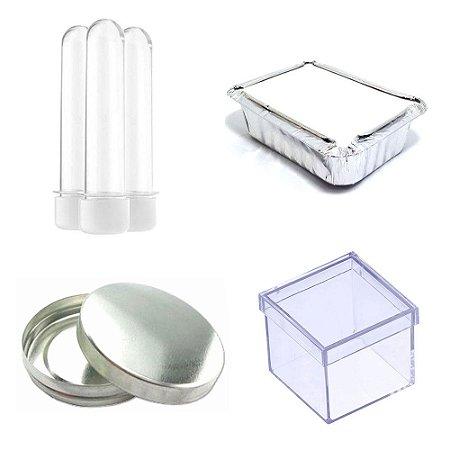 100 Latinha Metal 100 Marmitinha 100 Tubete 100 Caixinha 5x5 - Branco