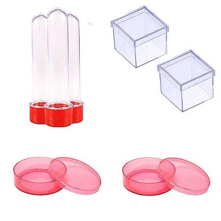 100 Latinhas Acrílicas 100 Tubetes 13 Cm 100 Caixinhas 5x5 - Vermelho