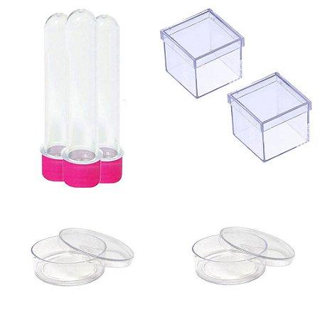 100 Latinhas Acrílicas 100 Tubetes 13 Cm 100 Caixinhas 5x5 - Pink