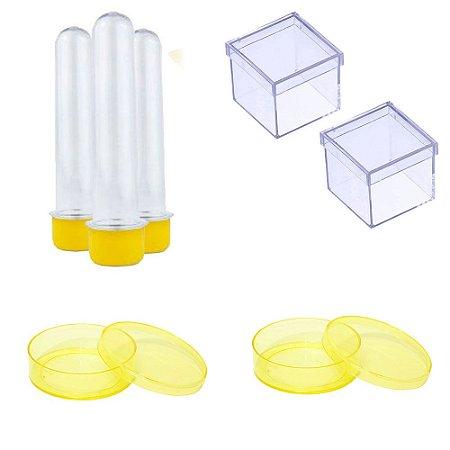 100 Latinhas Acrílicas 100 Tubetes 13 Cm 100 Caixinhas 5x5 - Amarelo