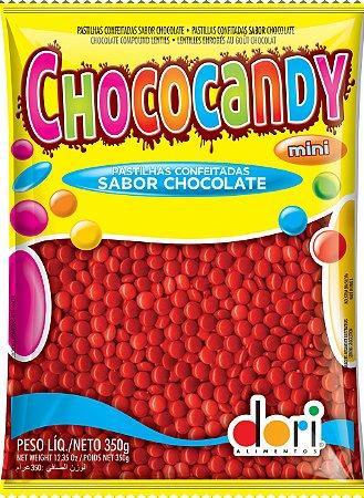 Chococandy Mini  Pastilhas Confeitadas Vermelho Sabor Chocolate Dori