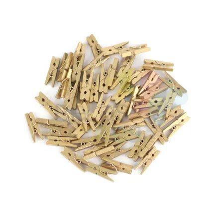 Mini Prendedorzinho / Pregador de Madeira 25mm Cor Dourado - Kit c/ 100 unidades