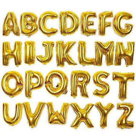 Balão de Letra Metalizado Dourado 40cm - Escolha as Letras