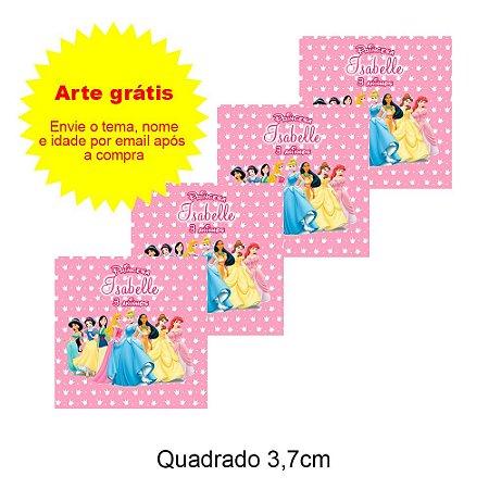 Adesivo Personalizado para Lembrancinha Quadrado 3,7cm