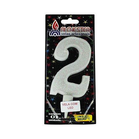 Vela Led Número 2 Alchester 10cm - 1 Unidade
