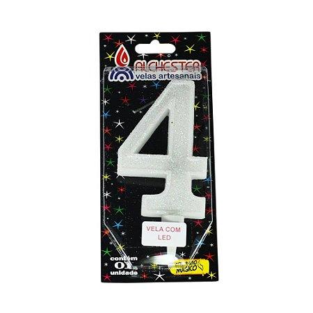 Vela Led Número 4 Alchester 10cm - 1 Unidade
