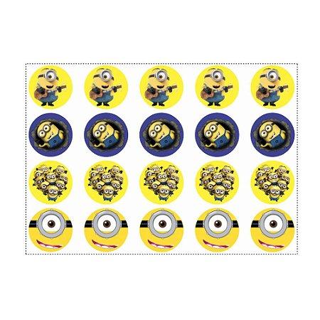 20 Adesivos Minions para Lembrancinha Redondo 4,7cm