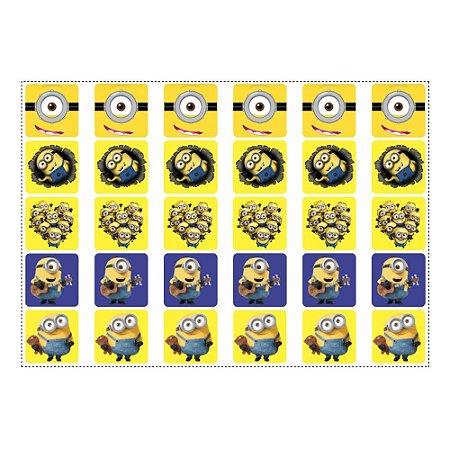 30 Adesivos Minions para Lembrancinha Quadrado 3,7cm