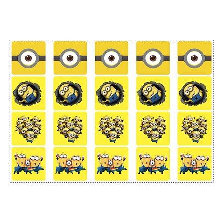 20 Adesivos Minions para Lembrancinha Quadrado 4,7cm