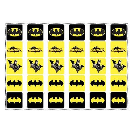 30 Adesivos Batman Geek para Lembrancinha Quadrado 3,7cm