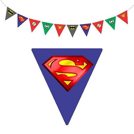 10 Bandeirolas Triangular Liga da Justiça
