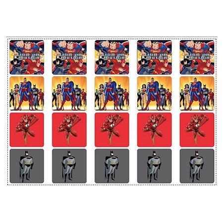 20 Adesivos Liga da Justiça para Lembrancinha Quadrado 4,7cm