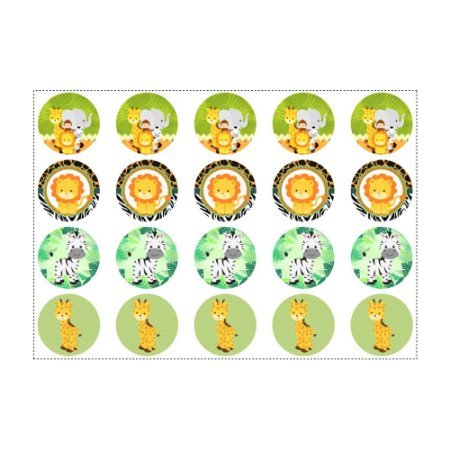 20 Adesivos Safari para Lembrancinha Redondo 4,7cm