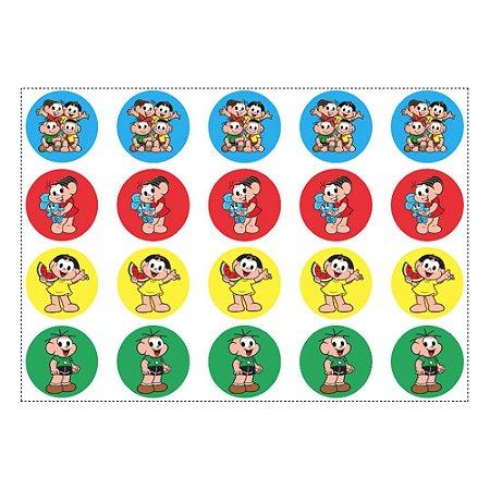20 Adesivos Turma da Mônica para Lembrancinha Redondo 4,7cm