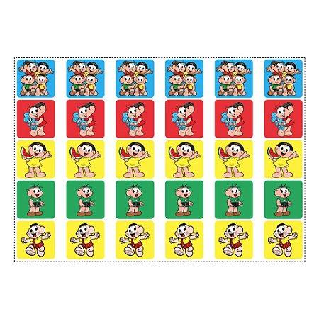 30 Adesivos Turma da Mônica para Lembrancinha Quadrado 3,7cm