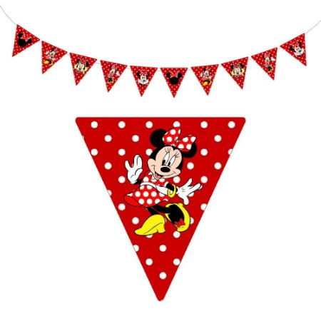 10 Bandeirolas Triangular Minnie Vermelha