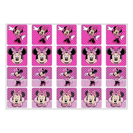 20 Adesivos Minnie Rosa para Lembrancinha Quadrado 4,7cm