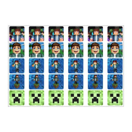 30 Adesivos Authentic Games Minecraft Quadrado 3,7cm