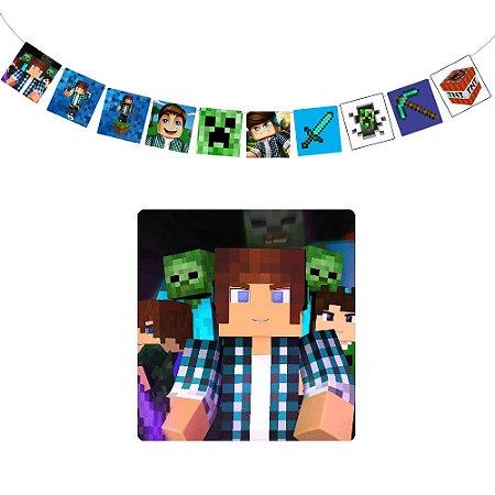 10 Bandeirolas Quadrada Authentic Games Minecraft