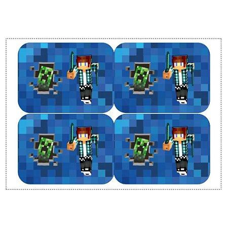 12 Adesivos Authentic Games Minecraft para Marmitinha 240ml