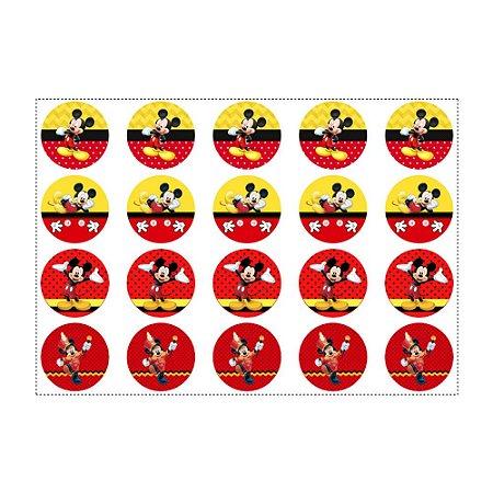 20 Adesivos Mickey para Lembrancinha Redondo 4,7cm