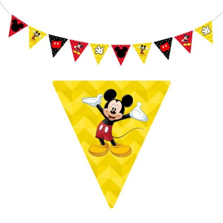 10 Bandeirolas Triangular Mickey