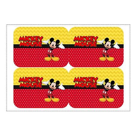 12 Adesivos Mickey para Lembrancinha Marmitinha 240ml - 9x12,5cm